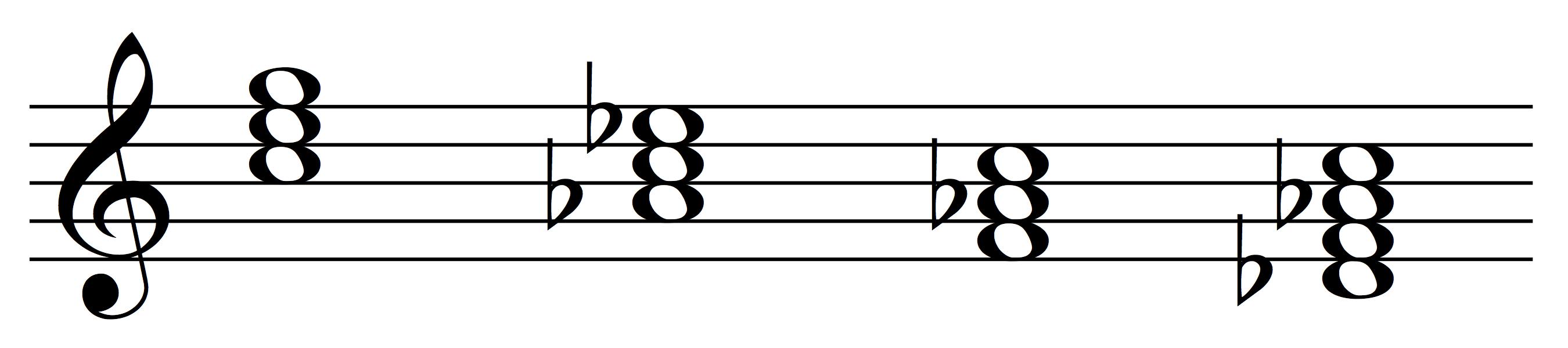 Progression with common tone C
