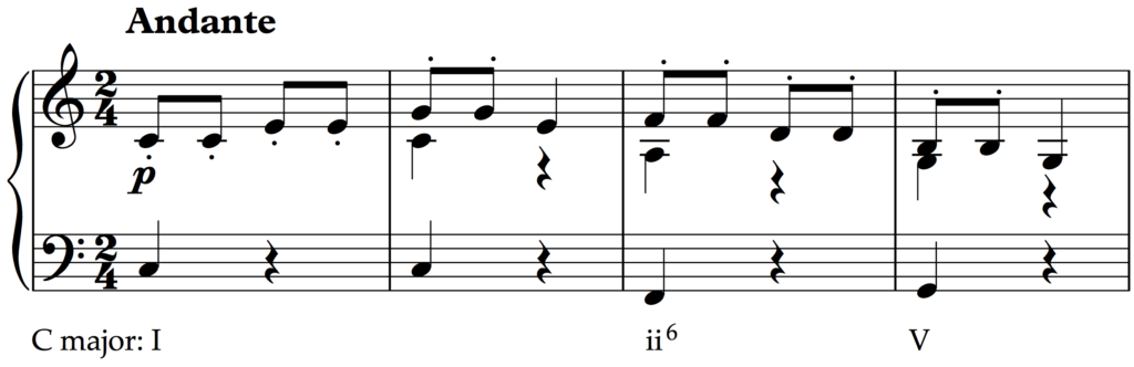 Half cadence in Haydn's Symphony no. 94, 2nd movement