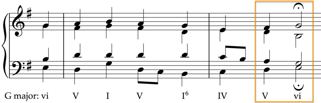 A deceptive cadence in Bourgeois' Old Hundredth hymn