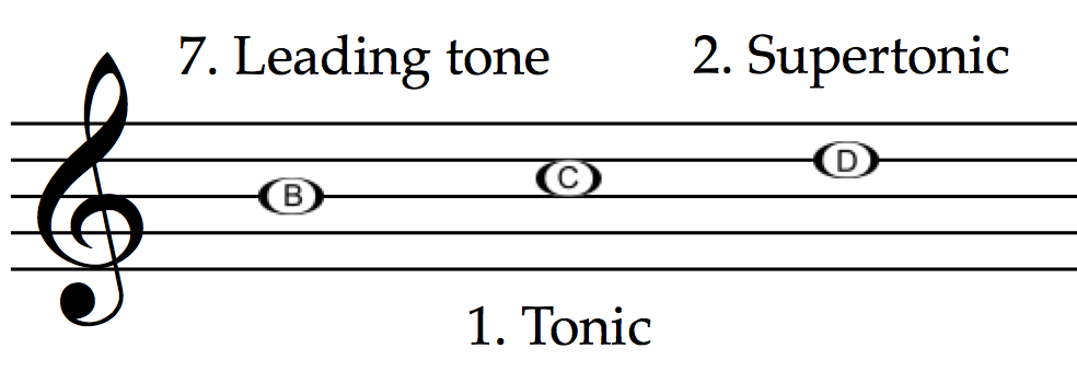 Leading tone, tonic and supertonic in C major: B, C and D.