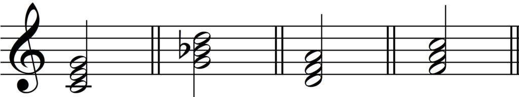 Four basic triads: C major, G minor, D minor and F major - to arrange for four-part harmony.