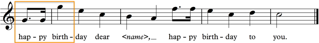 Original Happy Birthday tune - 3rd and 4th phrases