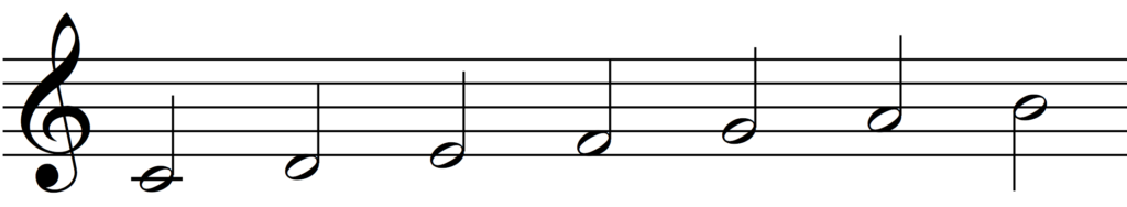 C major scale without final tonic.