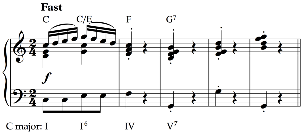 A simple tune ending on an extended dominant.