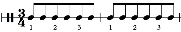 In 3/4, six eighth notes are normally grouped together.