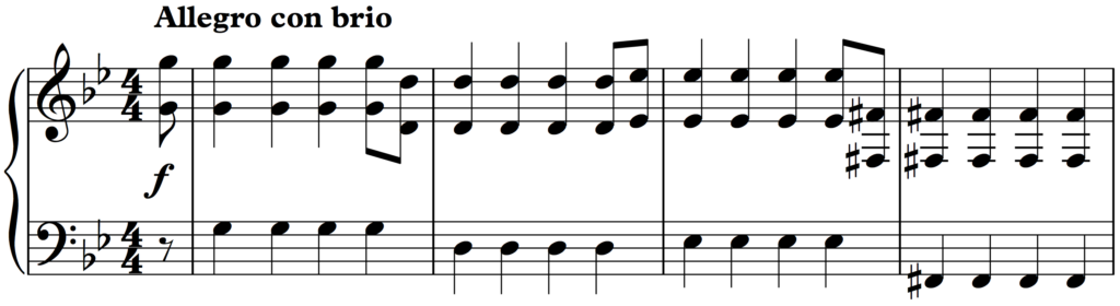 First 4 bars of Mozart's Symphony no. 25 with the syncopation removed.