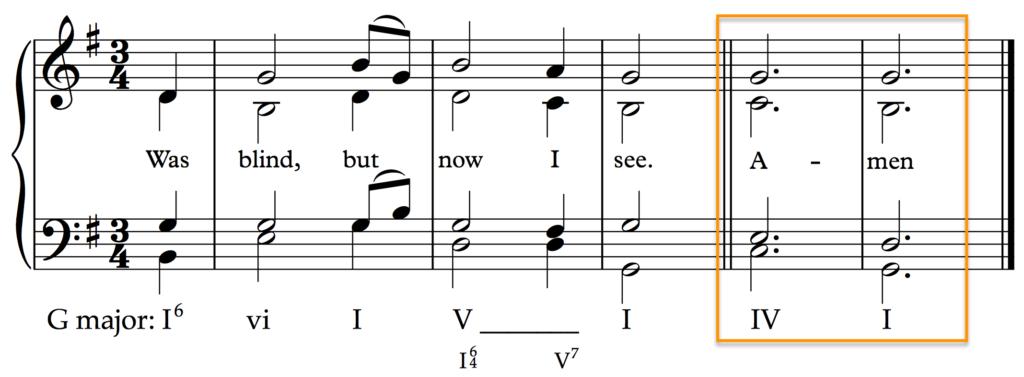 Plagal Cadence in 'Amazing Grace' (G major)