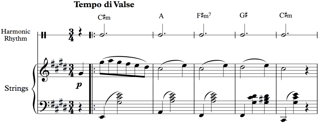 Harmonic rhythm from Dvorak's  Serenade for Strings: Tempo di Valse, Op. 22