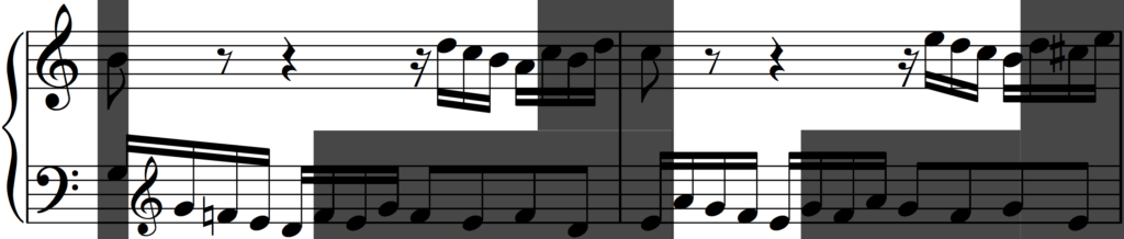 Motif 'a' transposed some more in Bach's Invention no. 1
