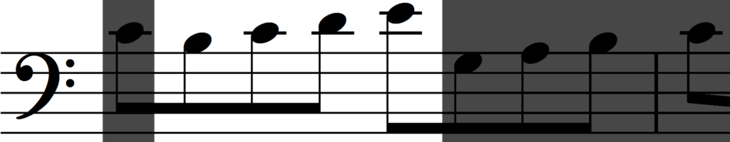 Rhythmic augmentation of motif 'a' in Bach's Invention no. 1