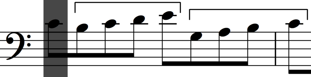 Transposition and rhythmic augmentation of motif 'a' in Bach's Invention no. 1