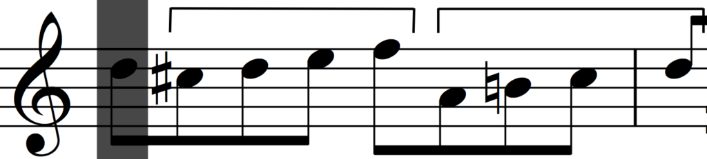 More transposition and rhythmic augmentation of motif 'a' in Bach's Invention no. 1