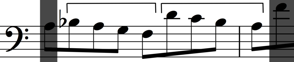 Inversion of the rhythmic augmentation of motif 'a' in Bach's Invention no. 1