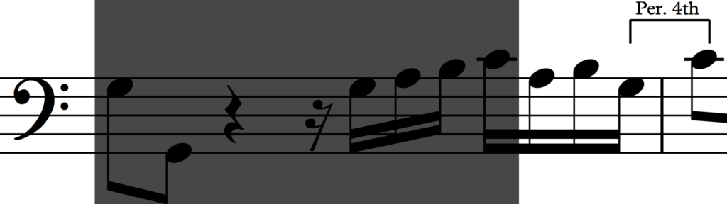 Change of last interval of motif 'b' in Bach's Invention no. 1