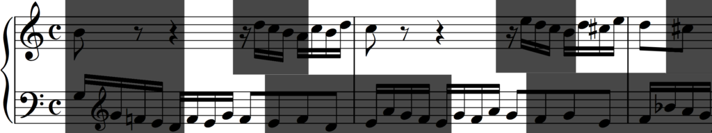 Motif 'b' in inversion from Bach's Invention no. 1