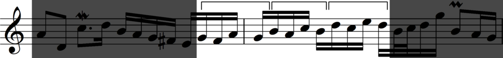 Motif 'b' developed by sequence from Bach's Invention no. 1
