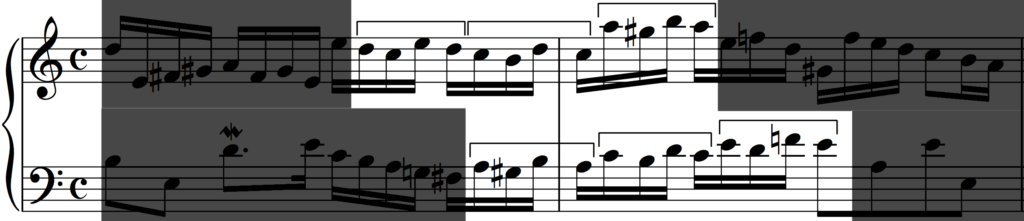 Motif 'b' developed by more sequences from Bach's Invention no. 1