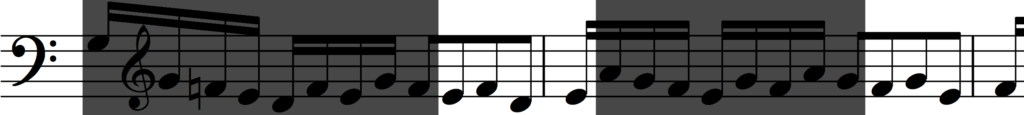 Rhythmic augmentation of motif 'b' from Bach's Invention no. 1