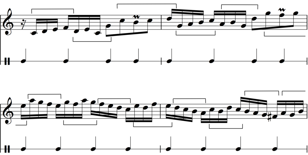 The rhythm of Bach's Invention no. 1