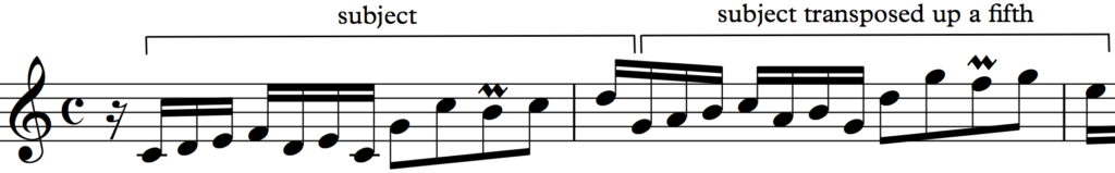 Subject from Bach's Invention no 1, transposed