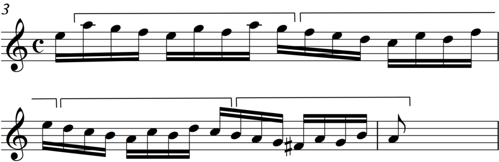 Sequence of inverted subject in Bach's Invention no 1