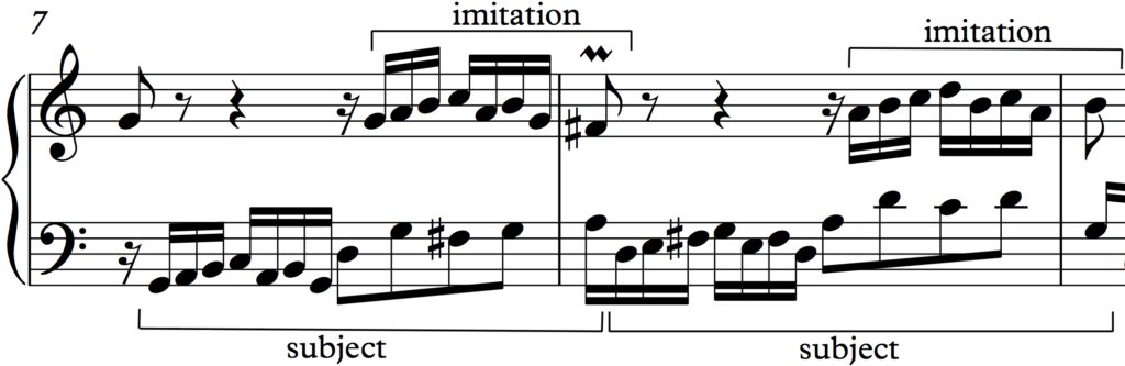 Beginning of the second phrase in Bach Invention no. 1