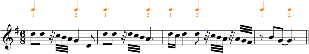 'How to Add Bar Lines': a variation of example 11 with demisemiquaver rests