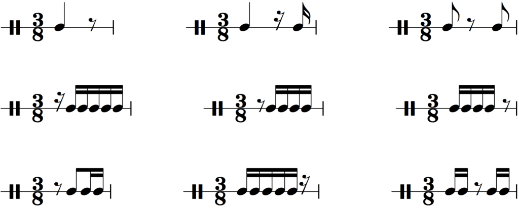 Common rhythms with rests in 3/8