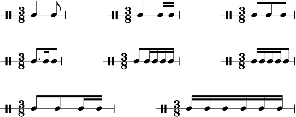 Common rhythms in 3/8